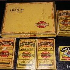 Paquetes de tabaco: 6, PAQUETES CIGARRILLOS GOLD FLAKE 5, CAJA CERILLAS BRYMAY- INGLATERRA, VACIOS. Lote 194241388