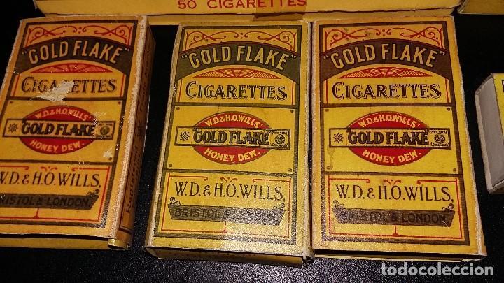 Paquetes de tabaco: 6, PAQUETES CIGARRILLOS GOLD FLAKE 5, CAJA CERILLAS BRYMAY- INGLATERRA, VACIOS - Foto 2 - 194241388