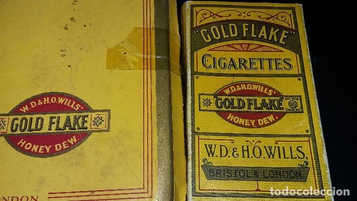 Paquetes de tabaco: 6, PAQUETES CIGARRILLOS GOLD FLAKE 5, CAJA CERILLAS BRYMAY- INGLATERRA, VACIOS - Foto 4 - 194241388