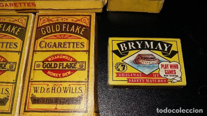 Paquetes de tabaco: 6, PAQUETES CIGARRILLOS GOLD FLAKE 5, CAJA CERILLAS BRYMAY- INGLATERRA, VACIOS - Foto 5 - 194241388
