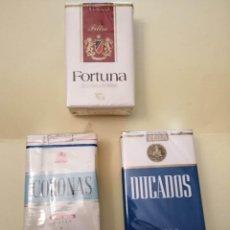 Paquetes de tabaco: LOTE DE 3 PAQUETES DE TABACO ANTIGUOS FORTUNA-DUCADOS Y CORONA . Lote 194276762