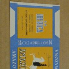Paquetes de tabaco: LA IBÉRICA, FABRICA DE TABACOS, NICOLÁS SOCORRO GUERRA, GRAN CANARIA. AMAZONA.. Lote 194927002