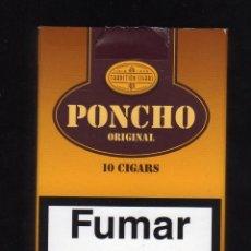 Paquetes de tabaco: CAJETILLA VACÍA DE PONCHO ORIGINAL · 10 CIGARS. Lote 194957570