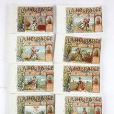 Paquetes de tabaco: 10 MARQUILLAS NUMERADAS DE TABACO LA HONRADEZ, HABANA, CUBA. SIGLO XIX.. Lote 195182885