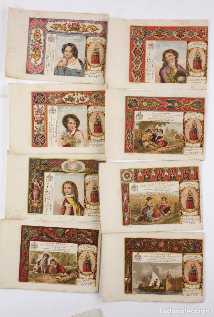 8 MARQUILLAS DE TABACO LA HONRADEZ, HABANA, CUBA. SIGLO XIX. (Coleccionismo - Objetos para Fumar - Paquetes de tabaco)