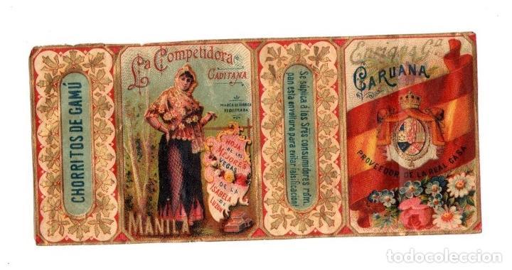 ENVOLTORIO CAJA DE CIGARROS CHORRITO DE CAMÚ. LA COMPETIDORA. ENRIQUE CARUANA. FILIPINAS, MANILA (Coleccionismo - Objetos para Fumar - Paquetes de tabaco)