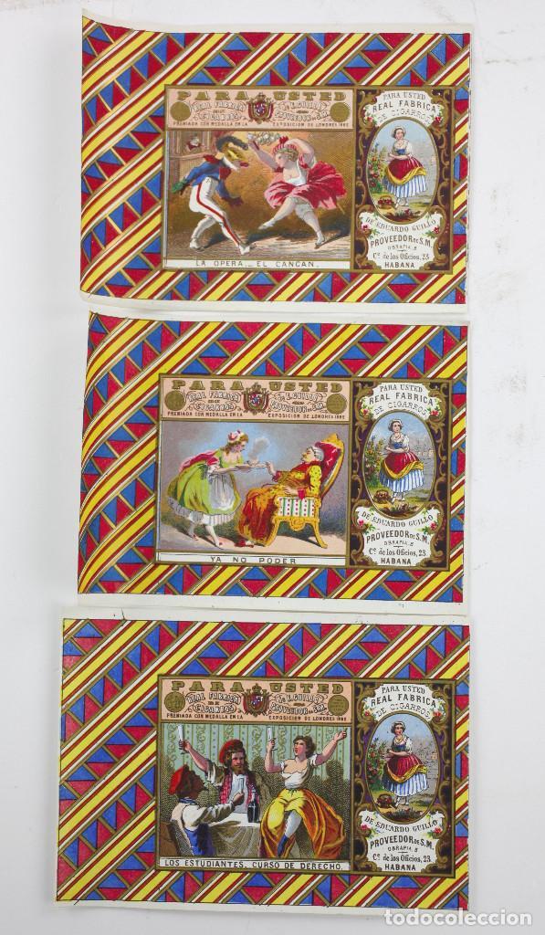 3 MARQUILLAS DE TABACO DE LA HABANA, CUBA, DEL AÑO 1860 APROX. ESTAMPACIÓN CON DORADOS 10X14 CM. (Coleccionismo - Objetos para Fumar - Paquetes de tabaco)