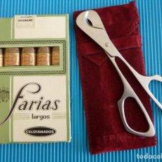 Paquetes de tabaco: ANTIGUA CAJA/PAQUETE PRECINTADO PUROS-FARIAS LARGOS CELOFANADOS+CORTAPUROS NUEVO INOX. Lote 142867050