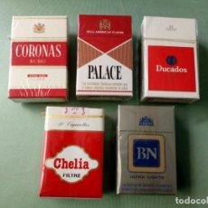 Paquetes de tabaco: 5 ANTIGUOS PAQUETES CON TABACO SIN ABRIR. COLECCION.. Lote 205575792