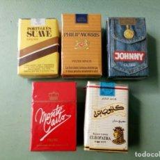 Paquetes de tabaco: 5 ANTIGUOS PAQUETES CON TABACO SIN ABRIR. COLECCION.. Lote 205576601