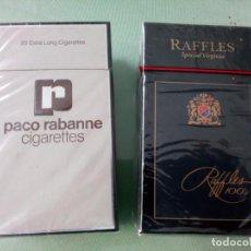 Paquetes de tabaco: 2 ANTIGUAS CAJETILLAS CON CIGARRILLOS PACO RABANNE Y RAFFLES, SIN ABRIR. COLECCION.. Lote 205597305