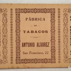 Paquetes de tabaco: FÁBRICA DE TABACOS ANTONIO ALVAREZ. 25 BUQUETS. 11,5 X 21,2 CM.. Lote 205775625