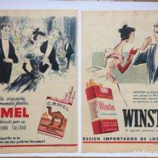 Paquetes de tabaco: 2 HOJAS PUBLICIDAD ANUNCIO TABACO: CAMEL Y WINSTON (1956) ¡ORIGINALES! COLECCIONISTA. Lote 220233622