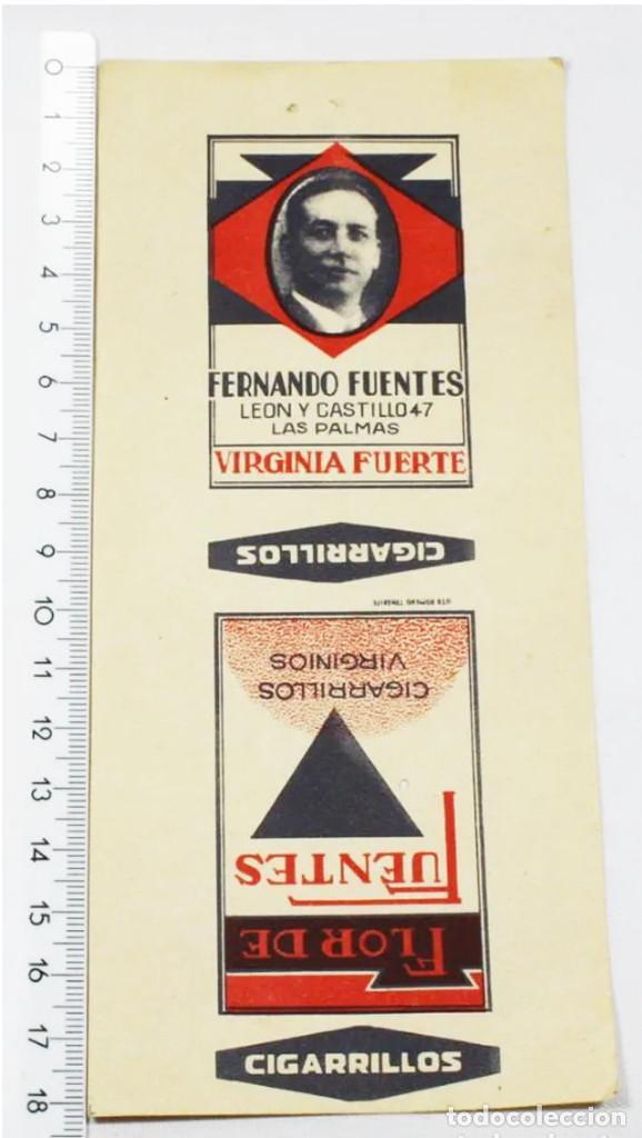 ETIQUETA ENVOLTORIO FLOR DE FUENTES CIGARRILLOS VIRGINIOS FERNANDO FUENTES, VIRGINIA FUERTE, TABACO (Coleccionismo - Objetos para Fumar - Paquetes de tabaco)