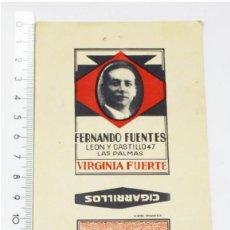 Paquetes de tabaco: ETIQUETA ENVOLTORIO FLOR DE FUENTES CIGARRILLOS VIRGINIOS FERNANDO FUENTES, VIRGINIA FUERTE, TABACO. Lote 210400601