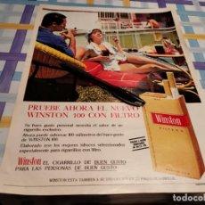 Paquets de cigarettes: PAQUETE DE TABACO WINSTON 100 LARGO ANUNCIO PUBLICIDAD REVISTA 1967 POSIBLE RECOGIDA EN MALLORCA. Lote 213279742