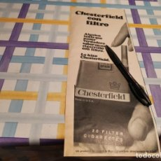Paquets de cigarettes: PAQUETE TABACO CHESTERFIELD ANUNCIO PUBLICIDAD REVISTA 1967 POSIBLE RECOGIDA EN MALLORCA. Lote 213281050