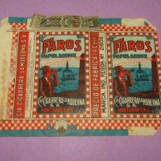 Paquetes de tabaco: ANTIGUO PAQUETE DE CIGARRILLOS TABACO * FAROS PAPEL ARROZ * DE MEXICO. Lote 218035050