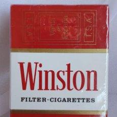 Paquetes de tabaco: CAJETILLA WINSTON AÑOS 80 ESPAÑA INUSUAL MODELO PAQUETE PRECINTADO MECHERO DE REGALO VER FOTOS. Lote 218474603