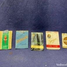 Paquetes de tabaco: 5 ENVOLTORIOS PAQUETES TABACO 1X2 NEGRITAS GOYA 46 ANTILLANA MENCEY CAPOTE. Lote 220942833