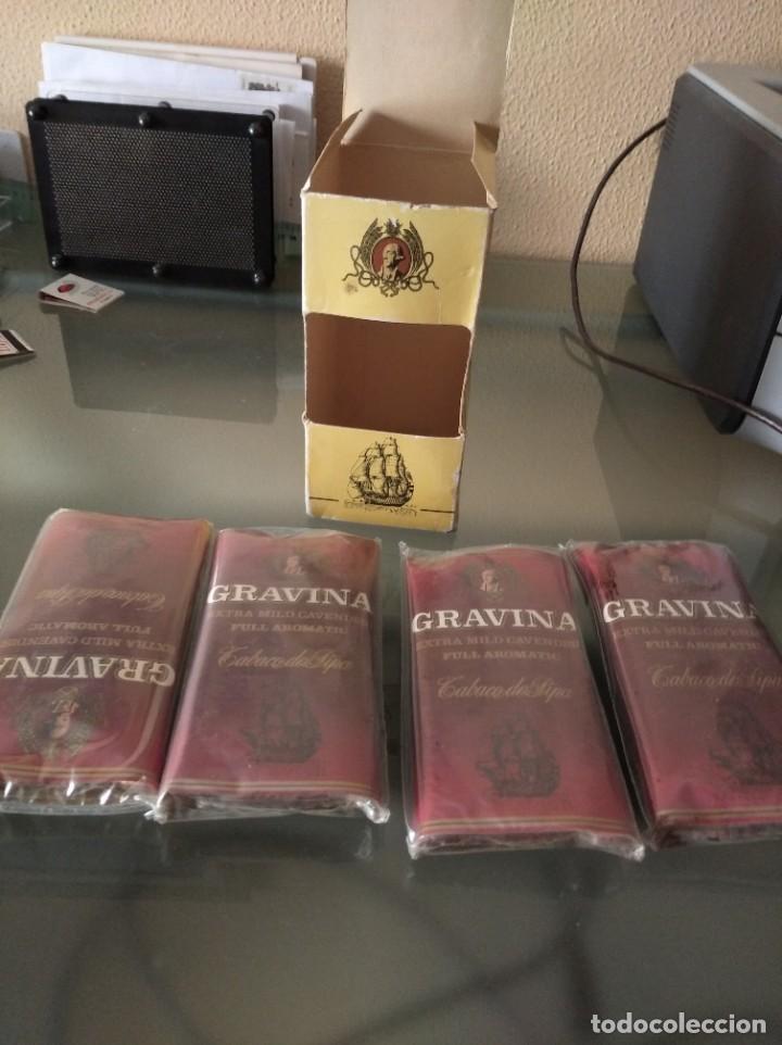 Paquetes de tabaco: Antigua caja con 4 paquetes de tabaco de pipa Gravina - Foto 3 - 222218280