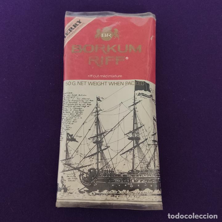 ANTIGUO PAQUETE DE TABACO PARA PIPA. BORKUM RIFF. MADE IN SWEDEN. (Coleccionismo - Objetos para Fumar - Paquetes de tabaco)