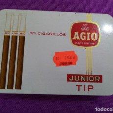 Paquetes de tabaco: AGIO JUNIOR TIP 50 CIGARRILLOS CAJA DE LATA PUROS. Lote 229348790