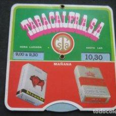 Paquetes de tabaco: DISCO HORARIO TABACALERA S.A. AÑO 1969. TABACO CIGARRILLOS BISONTE, UN - X - 2, CELTAS, DUCADOS. Lote 234491885
