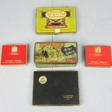Paquetes de tabaco: LOTE DE 5 CAJAS METALICAS DE CIGARRILLOS AÑOS 60. MURATTIS , BENSON AND HEDGES, ABDULLA, PLAYERS. Lote 241127335
