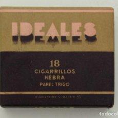 Paquetes de tabaco: PAQUETE DE TABACO IDEALES, EN EXCELENTE ESTADO, DE 18 CIGARRILLOS HEBRA PAPEL TRIGO (AÑOS 70). Lote 267162059