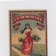 Paquetes de tabaco: LA PRIMAVERA. LUIS DIAZ. GIBRALTAR. FRONTAL DE CUARTERÓN DE TABACO.FINALES SIGLO XIX.. Lote 269137853