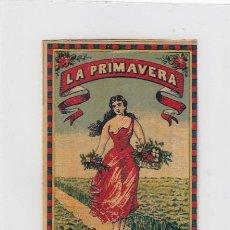 Paquetes de tabaco: LA PRIMAVERA. LUIS DIAZ. GIBRALTAR. FRONTAL DE CUARTERÓN DE TABACO.FINALES SIGLO XIX.. Lote 269137918