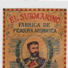 Paquetes de tabaco: EL SUBMARINO.ISAAC PERAL.BENZAQUEN,BENOLIEL Y Cª.TANGER Y GIBRALTAR. FRONTAL DE CUARTERÓN DE TABACO.. Lote 269138493
