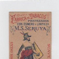 Paquetes de tabaco: EL COMPETIDOR. M.S. SERUYA. GIBRALTAR. FRONTAL DE CUARTERÓN DE TABACO.. Lote 269139223