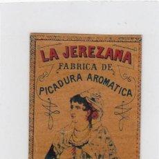 Paquetes de tabaco: LA JEREZANA. BENZAQUEN, BENOLIEL Y Cª. TANGER Y GIBRALTAR. FRONTAL DE CUARTERÓN DE TABACO.. Lote 269139698