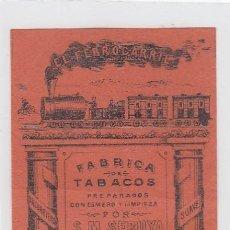 Paquetes de tabaco: EL FERROCARRIL. S.M.SERUYA. GIBRALTAR. FRONTAL DE CUARTERÓN DE TABACO.. Lote 269140193