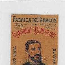 Paquetes de tabaco: DOCTOR GENARO. GUAHNISH Y BENCHETRIT. TANGER. FRONTAL DE CUARTERÓN DE TABACO.. Lote 269140533