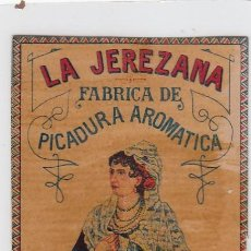 Paquetes de tabaco: LA JEREZANA. BENZAQUEN, BENOLIEL Y Cª. TANGER Y GIBRALTAR. FRONTAL DE CUARTERÓN DE TABACO.. Lote 269140963