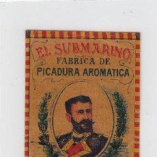 Paquetes de tabaco: EL SUBMARINO.ISAAC PERAL.BENZAQUEN,BENOLIEL Y Cª.TANGER Y GIBRALTAR. FRONTAL DE CUARTERÓN DE TABACO.. Lote 269141858