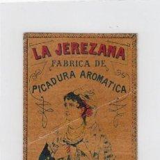 Paquetes de tabaco: LA JEREZANA. BENZAQUEN, BENOLIEL Y Cª. TANGER Y GIBRALTAR. FRONTAL DE CUARTERÓN DE TABACO.. Lote 269142028