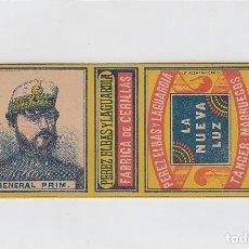 Paquetes de tabaco: GENERAL PRIM. LA NUEVA LUZ. FABRICA DE CERILLAS. PEREZ ELBAS Y LAGUARDIA. TANGER.. Lote 269143363