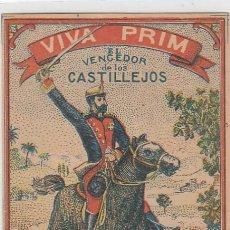 Paquetes de tabaco: VIVA PRIM.EL VENCEDOR DE LOS CASTILLEJOS. WILLIAM GUARDIA .GIBRALTAR. FRONTAL DE CUARTERÓN DE TABACO. Lote 269143738