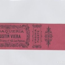 Paquetes de tabaco: TABAQUERIA DE AGUSTIN VIERA. ANILLA PARA MAZO DE PUROS O CIGARRILLOS. TABACO.. Lote 269145578