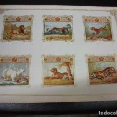 Maços de tabaco: LAMINA SIGLO XIX CON 6 MARQUILLAS DE TABACO DE CUBA HABANA C. 1860 CROMO SERIE ANIMALES 3. Lote 276376948