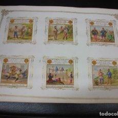 Paquetes de tabaco: LAMINA SIGLO XIX CON 6 MARQUILLAS DE TABACO DE CUBA HABANA C. 1860 CROMO SERIE EJERCITO AMERICANO 2. Lote 276377338