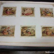 Paquetes de tabaco: LAMINA SIGLO XIX CON 6 MARQUILLAS DE TABACO DE CUBA HABANA C. 1860 CROMO SIN SERIE. Lote 276378318