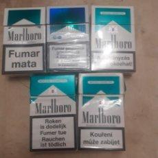 Paquetes de tabaco: LOTE DE 5 CAJETILLAS DE MARLBORO MENTOLADO VACIAS DE DIVERSOS PAISES. Lote 284485378