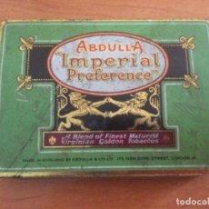 Paquetes de tabaco: CAJA DE CHAPA TABACO ABDULLA IMPERIAL PREFERENCE. MADE IN ENGLAND 1930. Lote 296954363