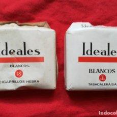 """Paquetes de tabaco: 2 PAQUETES DE TABACO """"IDEALES"""", 18 CIGARRILLOS - COMPLETOS AUNQUE DESPEGADOS - PJRB. Lote 297017263"""