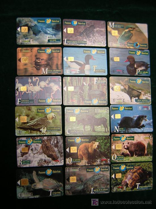 LOTE DE 18 TARJETAS TELEFONICAS USADAS-SERIE FAUNA IBERICA (Coleccionismo - Tarjetas Telefónicas)